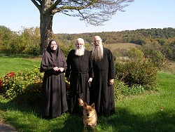 Mother Theadelphi, Fr Ambrose & Fr Deacon Seraphim at the Entrance of the Theotokos Skete, OH